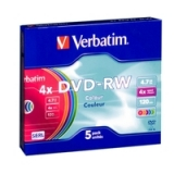 Диск DVD-RW Verbatim 4.7G Color Slim (43563)