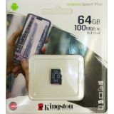 Карта пам'яті microSDXC  64Gb (Class 10)  Kingston  UHS-I  R100MB/s  Canvas Select Plus